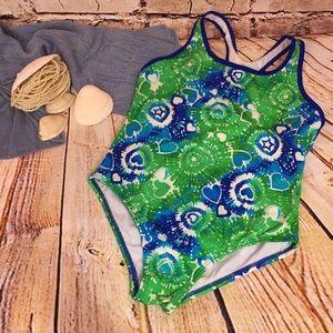 Speedo Girls Swimsuit Hearts Tye Dye Blue Green 14